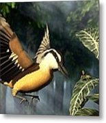 Red Breasted Nuthatch Eating Yellow Jacket Metal Print
