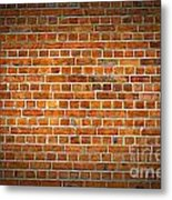 Red Brick Wall Texture With Vignette Metal Print
