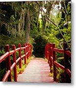 Red Bridge In Southern Plantation Metal Print