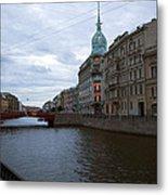 Red Bridge View - St. Petersburg - Russia Metal Print