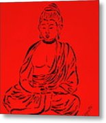 Red Buddha Metal Print