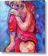 Red Buddha Resting Metal Print