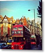 Red Bus On High Street Kensington Metal Print by Maeve O Connell