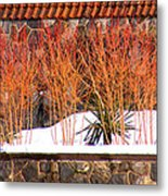 Red Bushes And Rock Wall Metal Print
