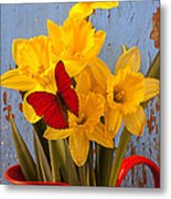 Red Butterfly On Daffodils Metal Print