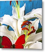 Red Butterfly On White Tiger Lily Metal Print
