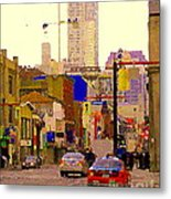Red Cab On Gerrard Chinatown Morning Toronto City Scape Paintings Canadian Urban Art Carole Spandau Metal Print