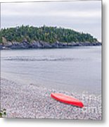 Red Canoe And Woman In Green Dress Metal Print