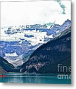 Red Canoes Turquoise Water Metal Print