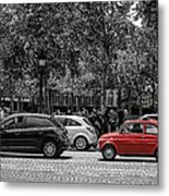 Red Car In Paris Metal Print