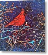 Red Cardinal Bird On Branch Painting Fine Art Print Metal Print