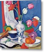 Red Chair And Tulips, C.1919 Metal Print