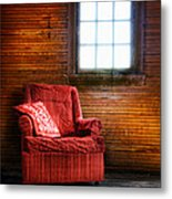 Red Chair In Panelled Room Metal Print