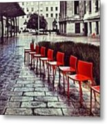 Red Chairs At Mint Plaza Metal Print