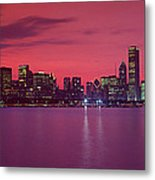 Red Chicago Sunset Metal Print