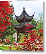 Red - Chinese Garden With Pagoda And Lake. Metal Print