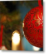 Red Christmas Bauble - Available For Licensing Metal Print