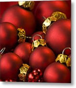 Red Christmas Baubles Metal Print by Anne Gilbert