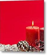Red Christmas Candles Metal Print