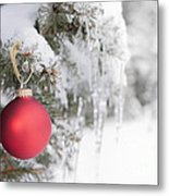 Red Christmas Ornament On Icy Tree Metal Print