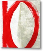 Red Circle 5- Abstract Painting Metal Print