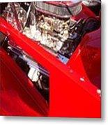 Red Classic Car Engine 2 Metal Print