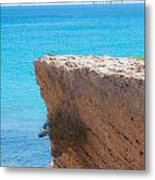 Red Cliff And Regatta In The Blue Metal Print