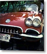 Red Corvette With Trees Metal Print