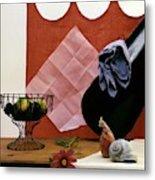 Red Curtains Metal Print