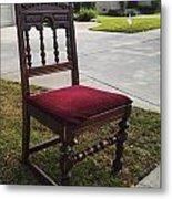 Red Cushion Chair Metal Print