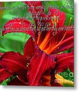 Red Day Lily And Quote Metal Print