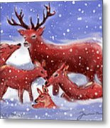 Red Deer Family Metal Print