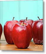 Red Delicious Apples On Old School Desk Metal Print