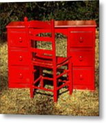 Red Desk And Chair Metal Print