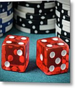 Red Dice And Playing Chips Metal Print