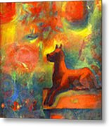 Red Dog In The Garden 2 Metal Print by Nato  Gomes