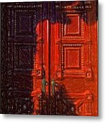 Red Door Behind Mysterious Shadow  Metal Print