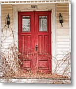 Red Doors - Charming Old Doors On The Abandoned House Metal Print