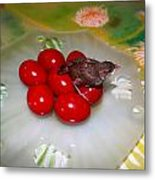 Red Eggs Bird And Flowers Metal Print