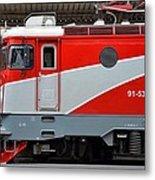 Red Electric Train Locomotive Bucharest Romania Metal Print