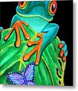 Red-eyed Tree Frog And Butterfly Metal Print