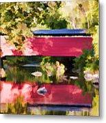 Red Fairhill Covered Bridge Metal Print