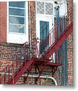 Red Fire Escape Usa II Metal Print
