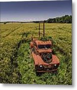 Red Firetruck In The Field Metal Print