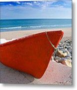 Red Fishing Boat Algarve Portugal Metal Print