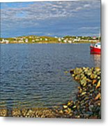 Red Fishing Boat In Twillingate Harbour-nl Metal Print