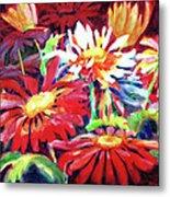 Red Floral Mishmash Metal Print