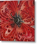 Red Flower 1 - Vibrant Red Floral Art Metal Print by Sharon Cummings