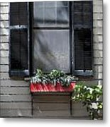 Red Flower Box St Augustine Metal Print