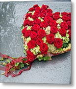 Red Flower Heart With Roses - Beautiful Wedding Flowers Metal Print